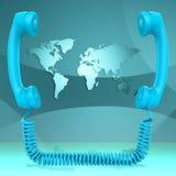 国际电话代表全球化闲谈和地球 库存照片