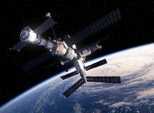 国际空间站轨道的地球 库存例证