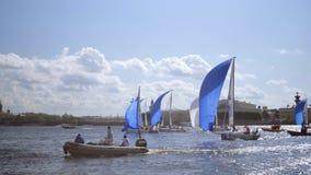 国际航行的冠军同盟,乘快艇的竞争在圣彼德堡 影视素材