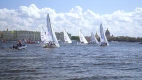 国际航行的冠军同盟,乘快艇的竞争在圣彼德堡 股票视频