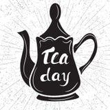 国际茶天 在抽象背景的黑茶壶 H 库存图片