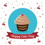 国际蛋糕天 7月20日 图片为假日友谊和和平 蛋糕是在题字旁边 免版税库存图片