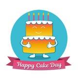 国际蛋糕天 7月20日 图片为假日友谊和和平 蛋糕是在题字旁边 免版税图库摄影