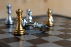 国际象棋棋局在船上 免版税库存照片