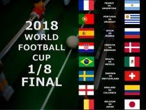 国际足球联合会世界杯俄罗斯2018年,足球比赛 冠军 最终 八分之一杯 比利时,日本,巴西,墨西哥,克罗地亚, Denma 免版税图库摄影