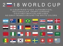 国际足球联合会世界杯32个国家2018面旗子  免版税图库摄影