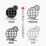 国际,事务,地球,在稀薄,规则,大胆的线和纵的沟纹样式的全世界,齿轮象 r 皇族释放例证