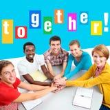 国际组织明亮的拼贴画学生 库存图片
