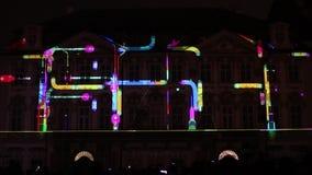 图—在国家肖像馆信号灯节日2016年,布拉格的历史建筑的Radugadesign Videomapping声音  影视素材