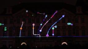 图—在国家肖像馆信号灯节日2016年,布拉格的历史建筑的Radugadesign Videomapping声音  股票录像