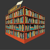 图书馆书架背景传染媒介  免版税库存图片
