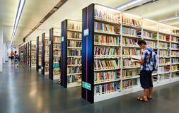 图书馆内部,书在图书馆里 免版税库存照片