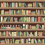 图书馆在平的设计的场面例证 免版税库存照片