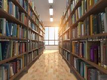 图书馆堆书和书架 库存图片