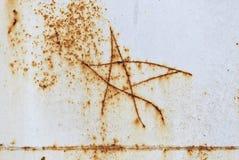 图五针对性的星在金属 免版税库存照片