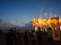 图兹拉夜airshow 库存图片