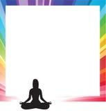 图剪影女子瑜伽 免版税图库摄影