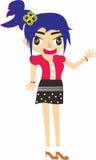 图形设计图画动画女孩 免版税库存照片