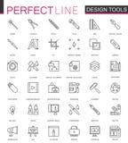 图形设计节目用工具加工调色板 稀薄的线被设置的网象 接口概述冲程象设计 库存照片