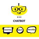 图形设计趋向现代商标 面部具体化chatb的概念 向量例证