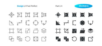 图形设计UI映象点完善的认真草拟的传染媒介稀薄的线和坚实象30 2x栅格网图表和阿普斯的 图库摄影
