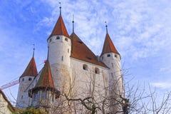图恩城堡看法在瑞士 库存图片