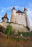 图恩城堡看法在石台阶的在瑞士人 图库摄影
