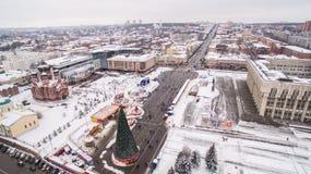 图拉中心广场冬天鸟瞰图的05 01 2017年俄罗斯 免版税库存照片