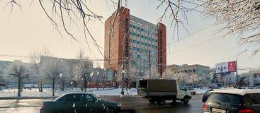 图拉,俄罗斯, 2015年1月, 31日:仪器做设计事务所中央设计研究局分支  Krasnoarmeysky Avenu 库存照片