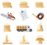 图标木料集合向量 免版税库存图片