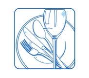 图标碗筷白色 库存照片