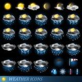 图标被设置的向量天气 库存照片