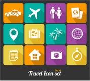 图标被设置的旅行向量 免版税库存照片