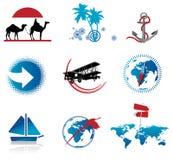 图标被设置的旅行 免版税库存图片