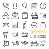 图标被设置的购物 传染媒介平的线例证 免版税库存图片