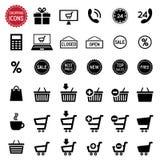 图标被设置的购物 向量 库存图片