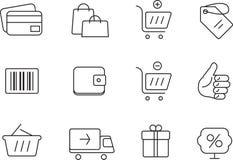 图标被设置的购物 简单的设计 库存照片