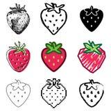 图标设置了草莓 免版税库存图片