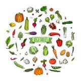 图标设置了蔬菜 库存照片