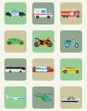 图标设置了运输 自治都市和旅行运输 公共交通工具 平的设计样式 向量 免版税图库摄影