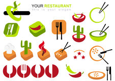 图标餐馆集 免版税图库摄影