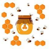 图标 瓶子wih自创蜂蜜 蜂窝和蜂 免版税图库摄影