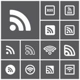 图标rss设置了万维网 免版税库存图片