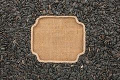 图框架由与向日葵种子的绳索制成在麻袋布 库存图片