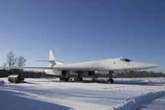 图波列夫在航空博物馆乌克兰的图-160航空器 库存照片