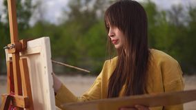 图片传神图画由美丽的妇女画家的 股票录像