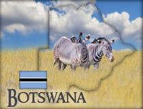 图片的斑马博茨瓦纳的旗子地图 有博茨瓦纳和旗子文本  有这是全国非洲人 免版税库存图片