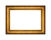图片的被镀金的木框架的隔绝在白色背景 免版税图库摄影