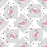图画与花卉样式的向量图形与心脏 无缝的背景 花卉花自然设计 图表,剪影drawin 免版税库存图片