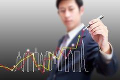 图画企业大厦成长曲线图概念 免版税库存图片